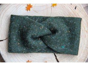Pletená čelenka - zelená tweed