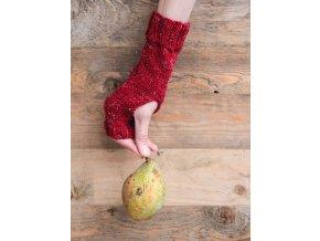 Pletené návleky na ruce - červené tweed