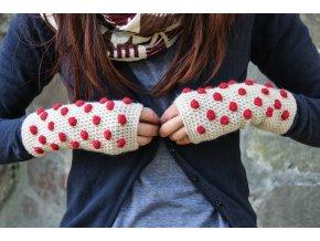 Návleky na ruce - Červené bubliny na béžové