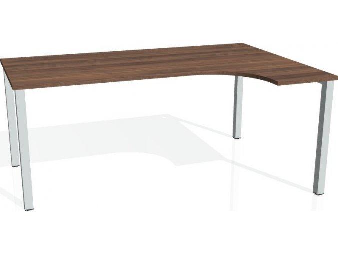 Office pro HOBIS UNI - UE 1800 L - Stůl ergo levý 180*120cm (BARVA NOHY BÍLÁ, LTD DESKY HOBIS ŠEDÁ)