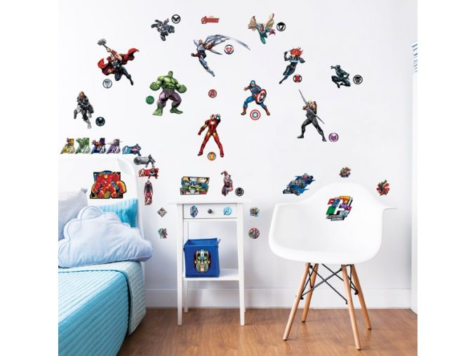 Avengers Wall Stickers Bedroom Scene 44760 600x595