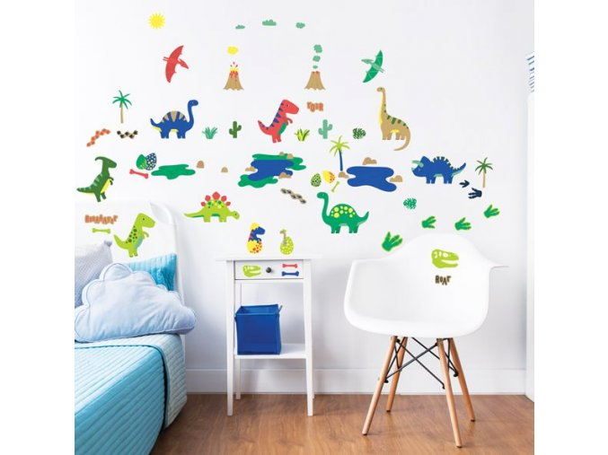 Dinosaur Wall Stickers Bedroom Scene 45026 600x595