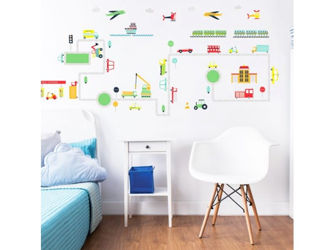 Transport Wall Stickers Bedroom Scene 44869 600x595