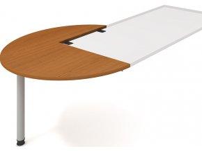 Office pro HOBIS GP 22 L P - Stůl jednací levý podél pr120 cm GATE (BARVA KOVU ŠEDÁ, LTD DESKY HOBIS ŠEDÁ)