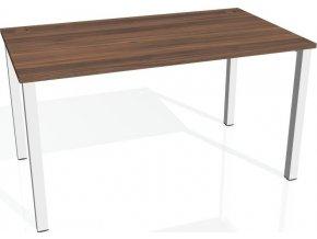 Office pro HOBIS UNI -US 1400 - Stůl pracovní rovný 140 cm (BARVA NOHY BÍLÁ, LTD DESKY HOBIS ŠEDÁ)