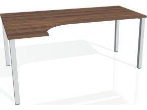 Office pro HOBIS UNI - UE 1800 P - Stůl ergo pravý 180*120 cm (BARVA NOHY BÍLÁ, LTD DESKY HOBIS ŠEDÁ)