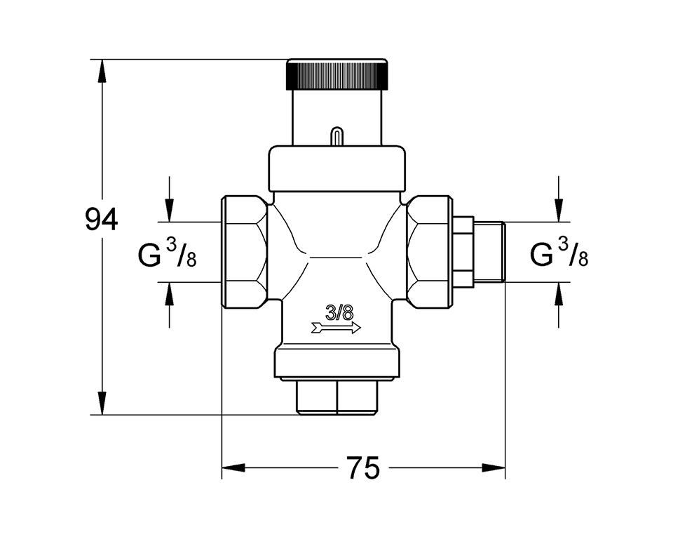 Grohe Blue Redukční ventil - rozměry