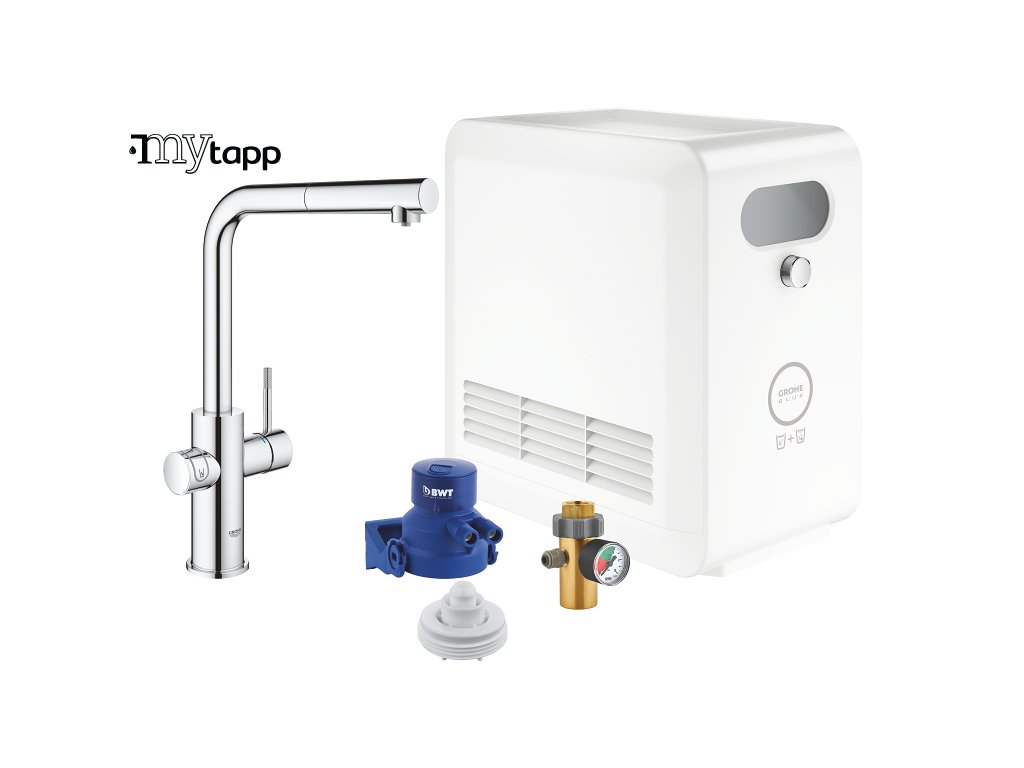 GROHE Blue Professional Connected | Sada s baterií ve tvaru L a vytahovací sprchou