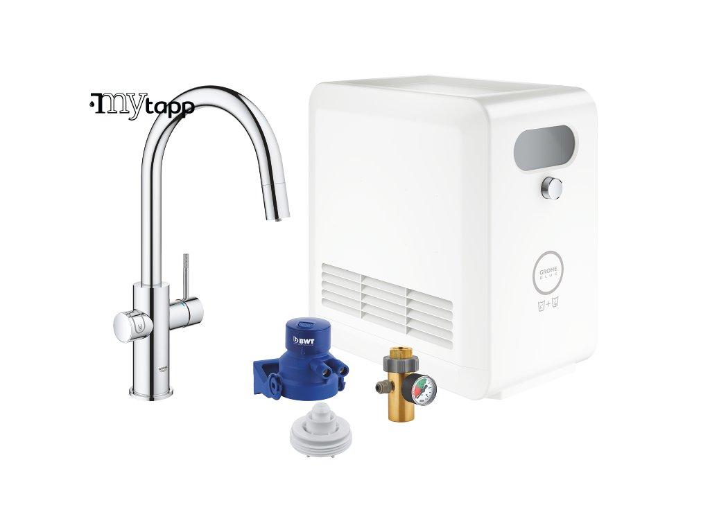GROHE Blue Professional Connected | Sada s baterií ve tvaru C a vytahovací sprchou