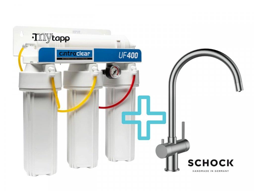Výhodný set filtru Cintroclear UF400 Ultrafiltrace + dřezové baterie SCHOCK ARES