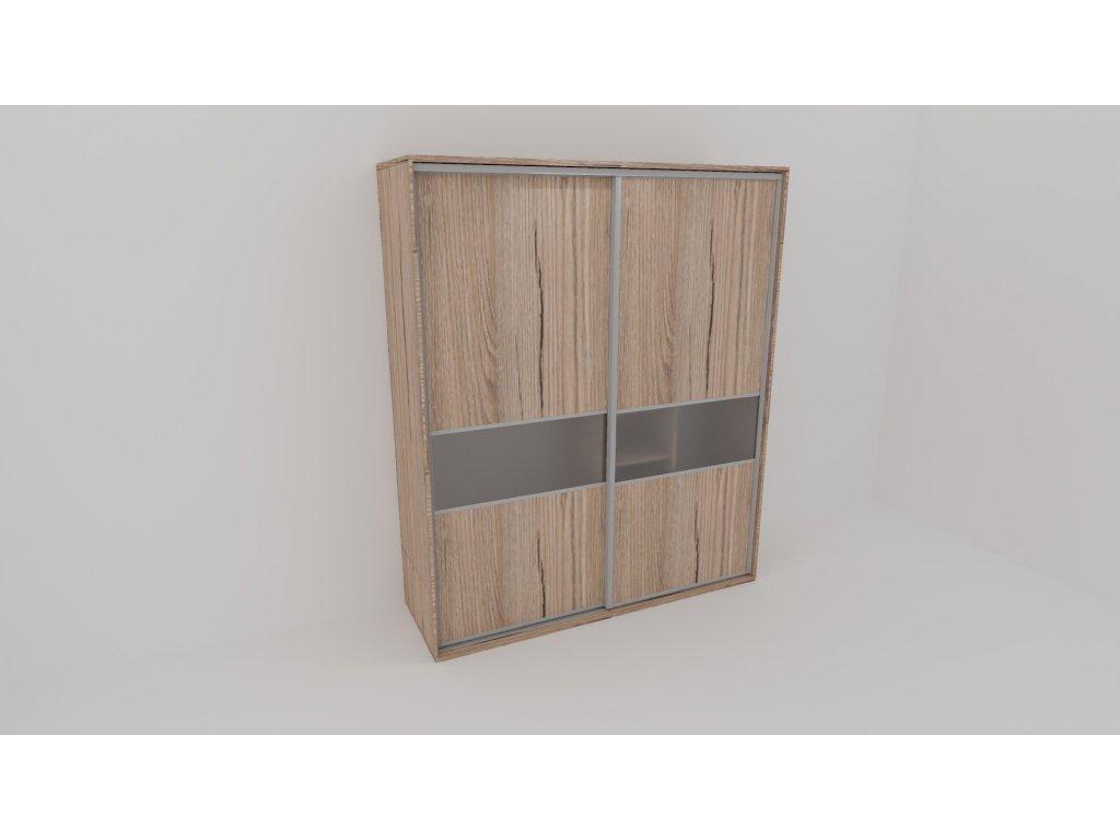 Skříň FLEXI 2 š.220cm v.220cm : 2x dveře dělené sklem MATELUX