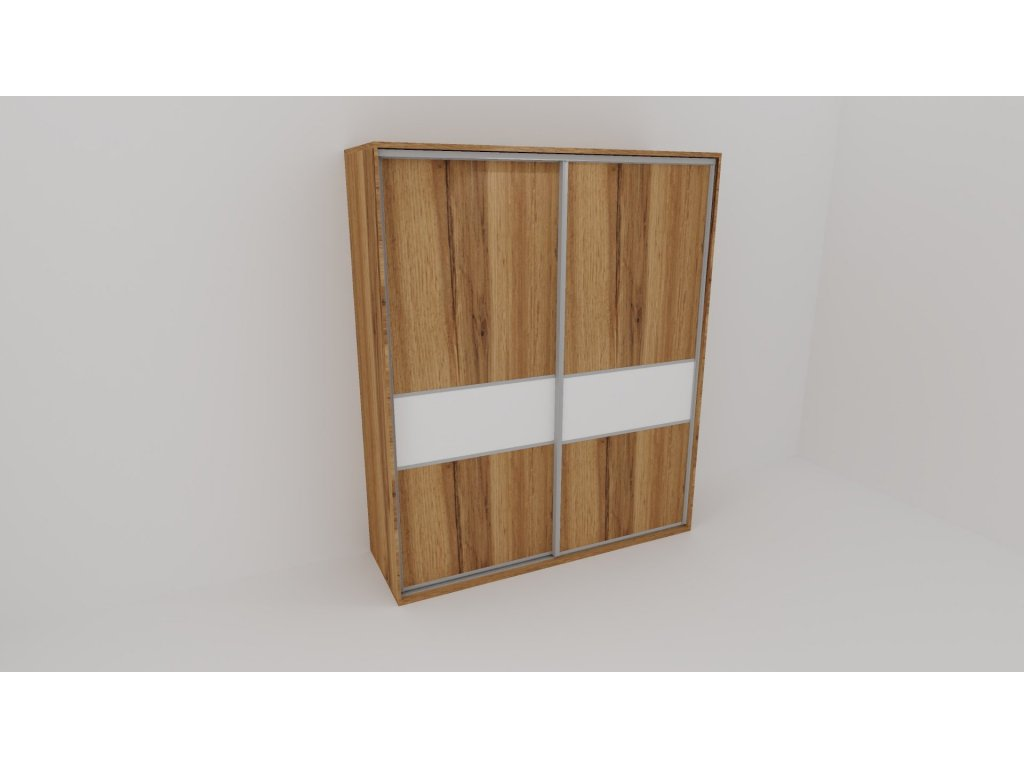 Skříň FLEXI 2 š.220cm v.220cm : 2x dveře dělené sklem LACOBEL