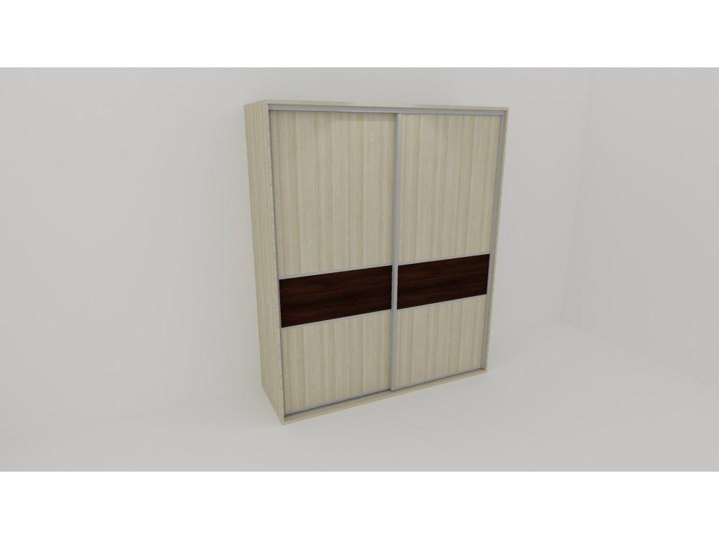 Skříň FLEXI 2 š.220cm v.220cm : 2x dveře dělené LTD
