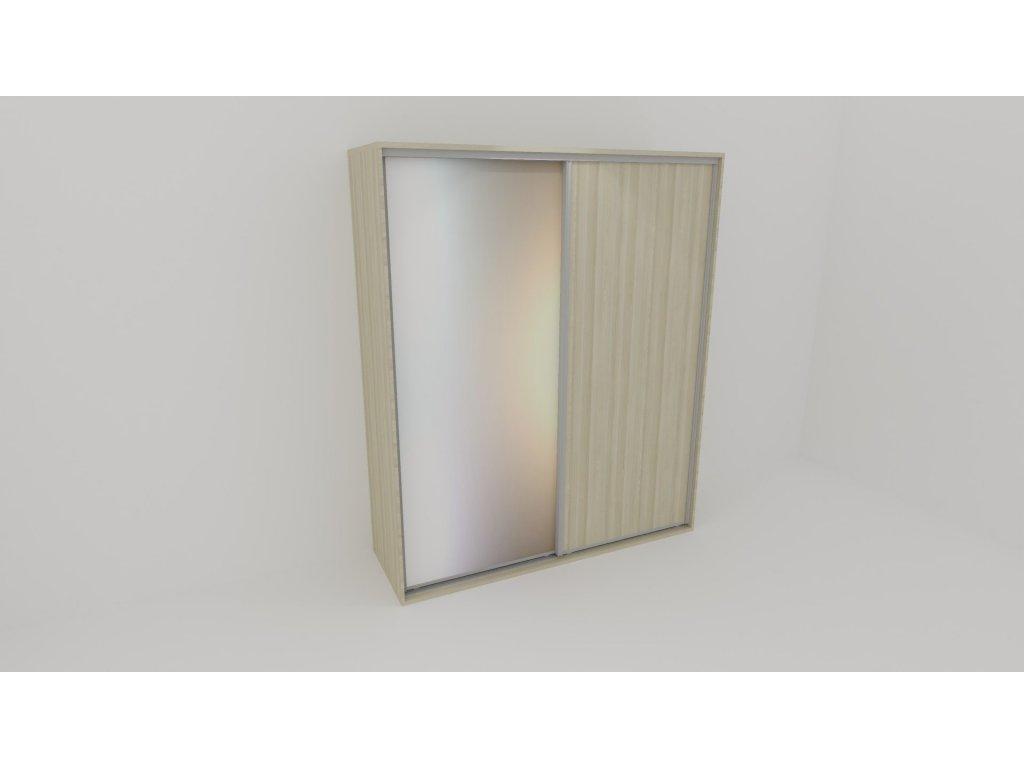 Skříň FLEXI 2 š.220cm v.220cm : 1x dveře plné , 1x zrcadlo