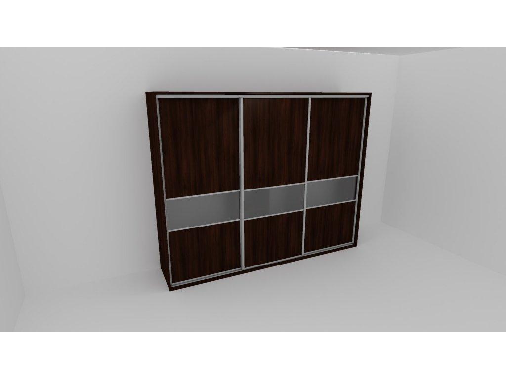 Skříň FLEXI 3 š.260cm v.220cm : 3x dveře dělené sklem MATELUX