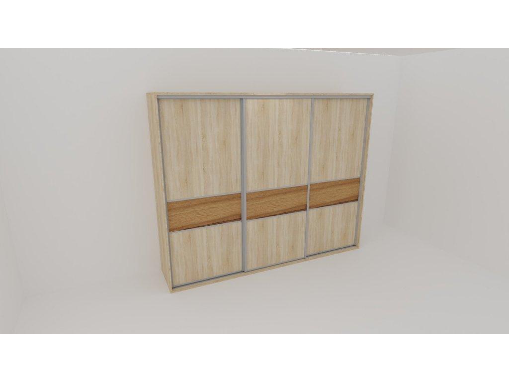 Skříň FLEXI 3 š.260cm v.220cm : 3x dveře dělené LTD