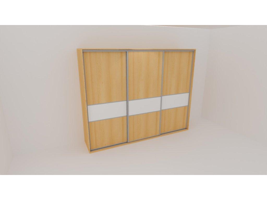 Skříň FLEXI 3 š.240cm v.240cm : 3x dveře dělené sklem LACOBEL