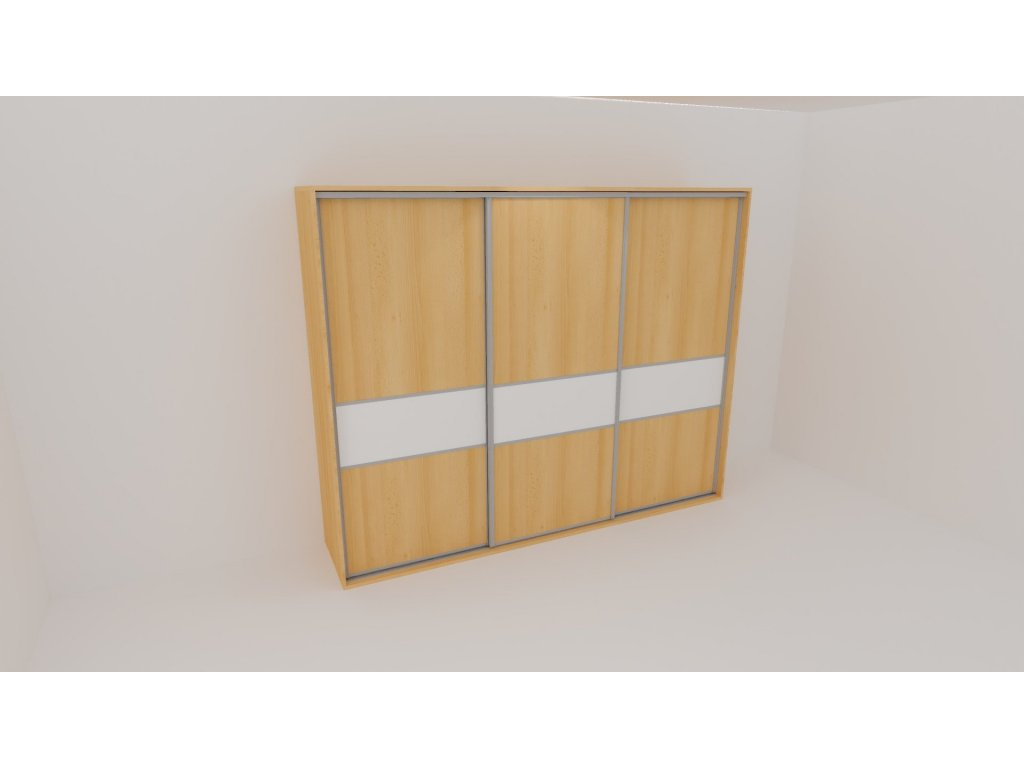 Skříň FLEXI 3 š.280cm v.220cm : 3x dveře dělené sklem LACOBEL