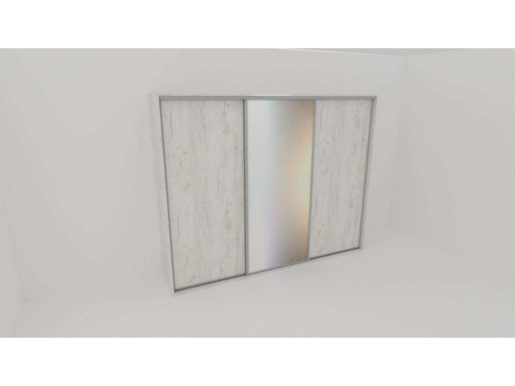 Skříň FLEXI 3 š.280cm v.220cm : 2x dveře plné , 1x zrcadlo