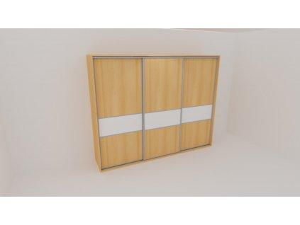 Skříň FLEXI 3 š.300cm v.240cm : 3x dveře dělené sklem LACOBEL - z letáku