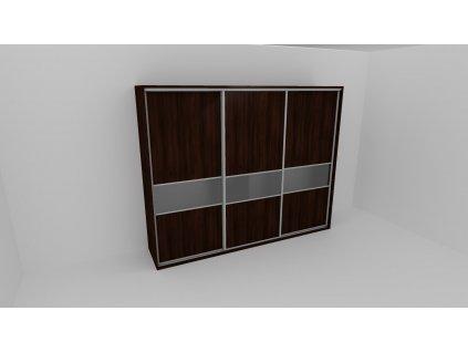 Skříň FLEXI 3 š.280cm v.240cm : 3x dveře dělené sklem MATELUX