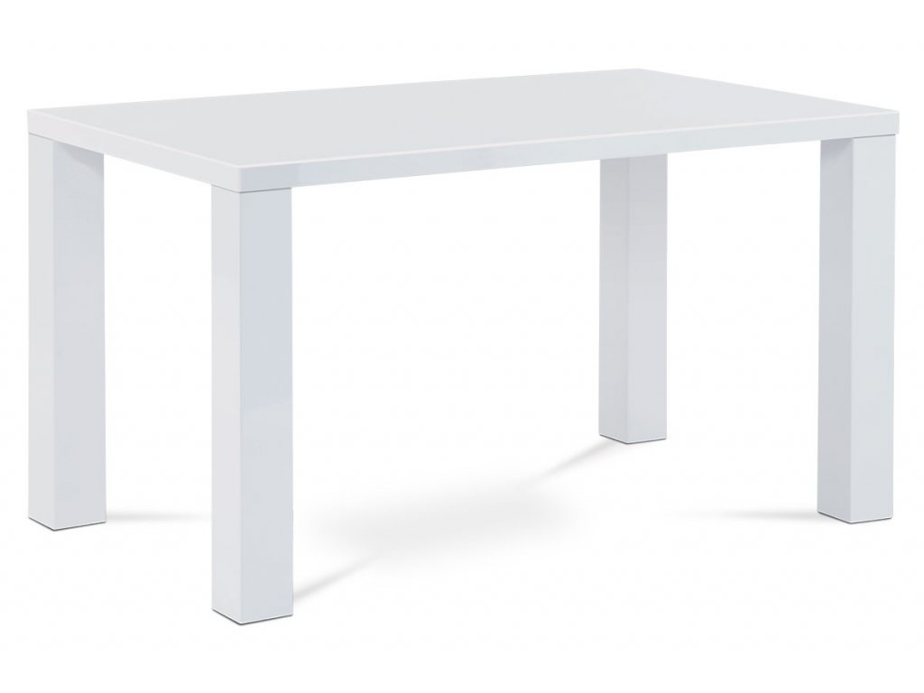 Jídelní stůl 135x80x76 cm, vysoký lesk bílý