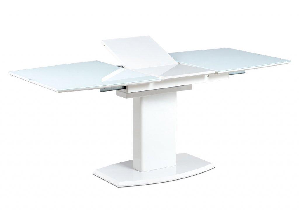 Jídelní stůl 140+40x80 cm, bílé sklo + bílá MDF