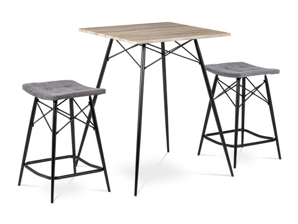 Barový set (1+2), MDF, dekor dub Sonoma, látka šedá, kov matná černá
