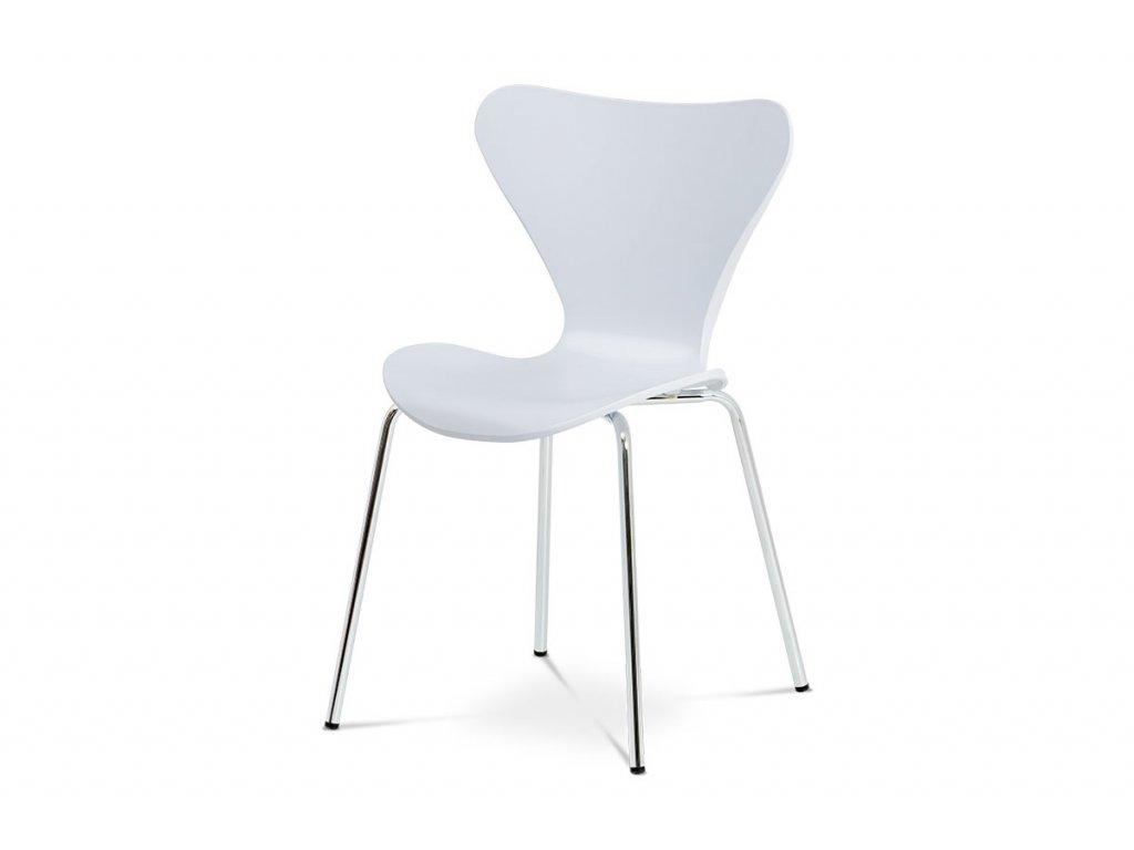 Jídelní židle, bílý plastový výlisek s dekorem dřeva, kovová chromovaná čtyřnohá