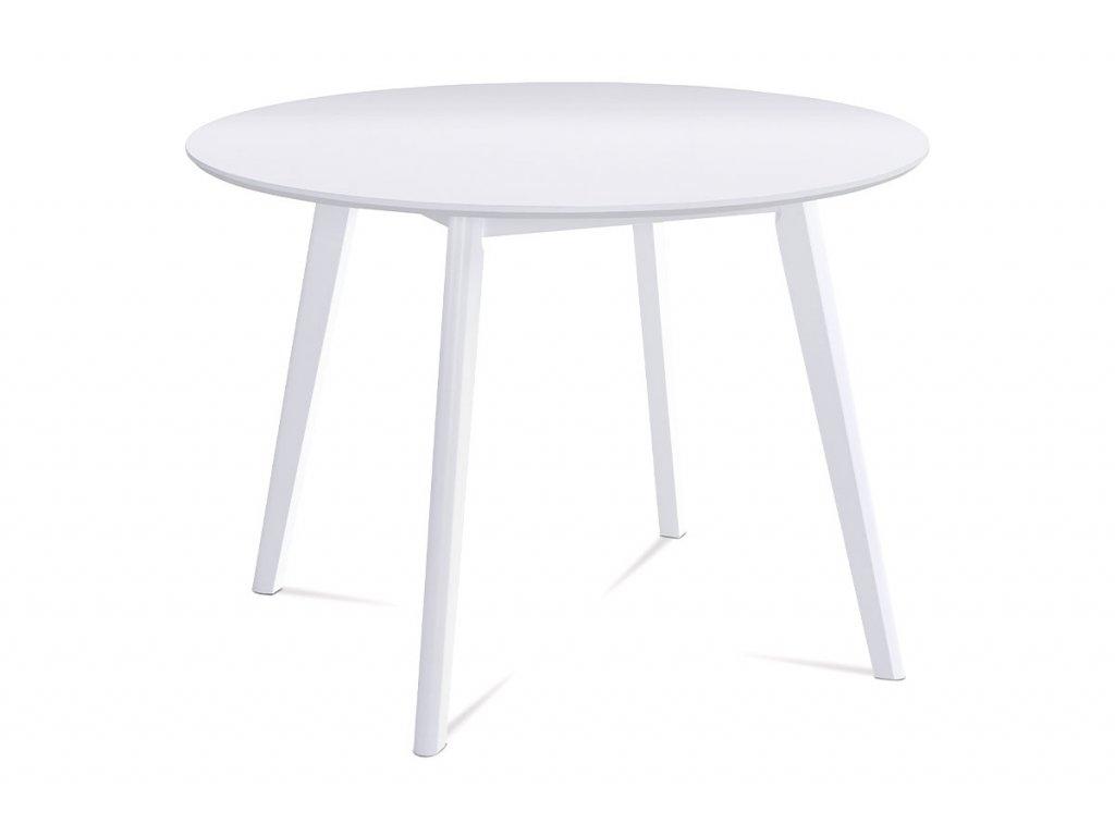 Kulatý jídelní stůl pr. 106 cm, bílá matná MDF deska, tloušťka 18mm