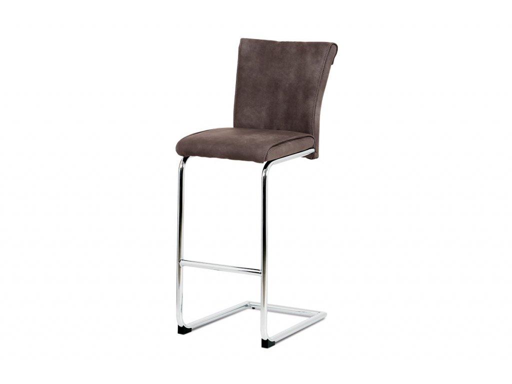 Barová židle, hnědá ekokůže v dekoru vintage kůže, chromovaná pohupová podnož