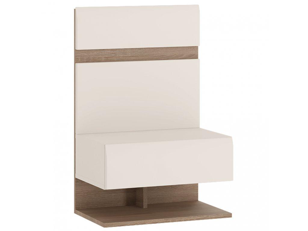 Kondela Noční stolek, bílá extra vysoký lesk HG / dub sonoma tmavý truflový, LYNATET TYP 95