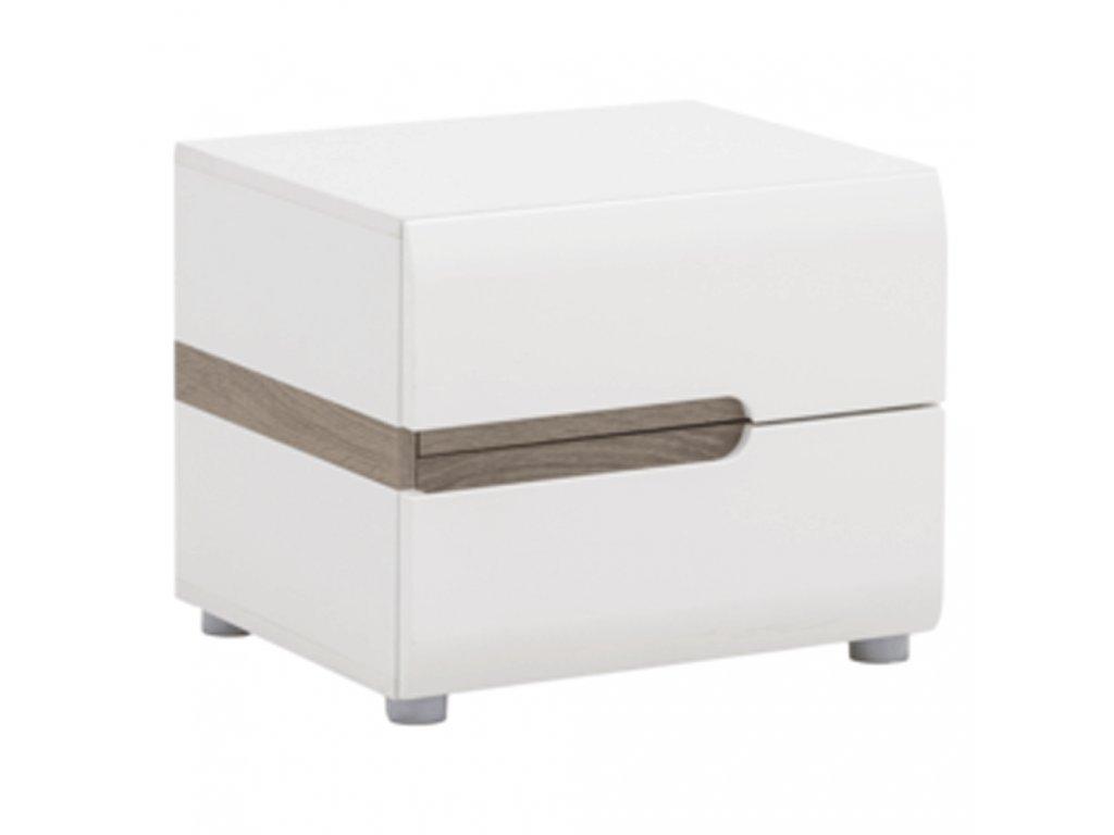 Kondela Noční stolek, bílá extra vysoký lesk HG / dub sonoma tmavý truflový, LYNATET TYP 96