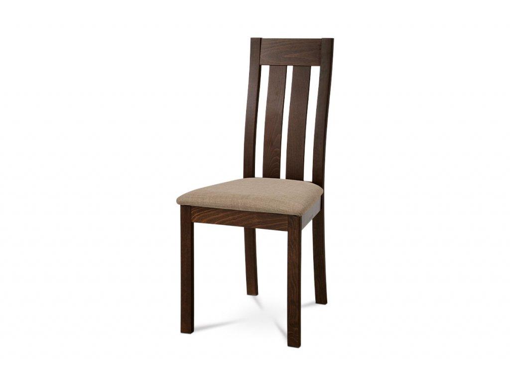 Jídelní židle, masiv buk, barva ořech, látkový béžový potah