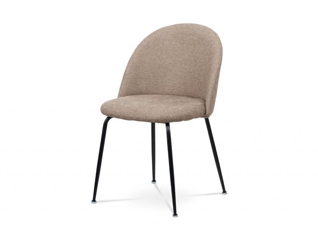 Jídelní židle, cappuccino látka, kovová čtyřnohá podnož, černý matný lak