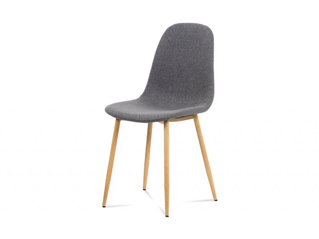 Jídelní židle, šedá látka-ekokůže, kov dub