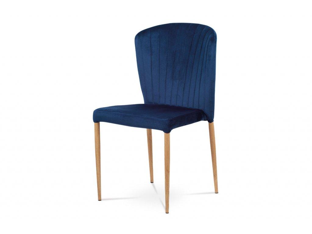 Jídelní židle, modrá sametová látka, kovová podnož, 3D dekor dub