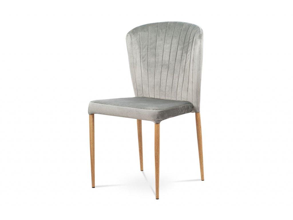Jídelní židle, stříbrná sametová látka, kovová podnož, 3D dekor dub