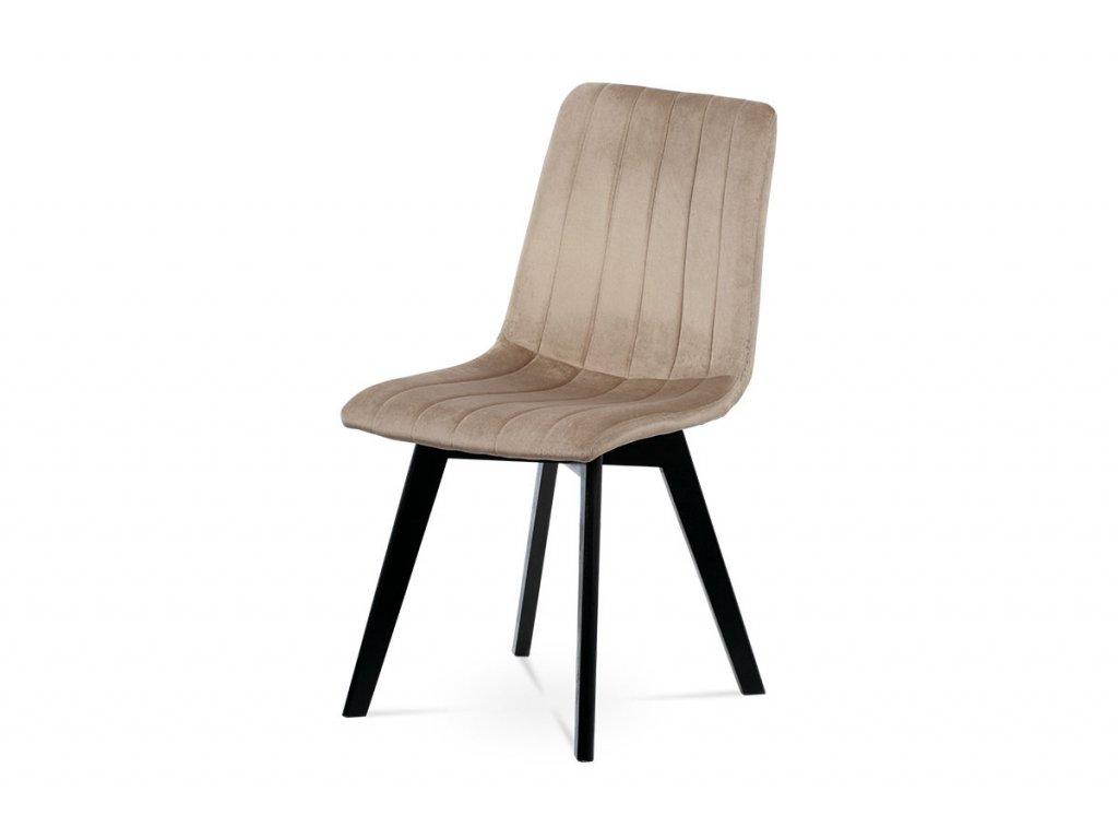 Jídelní židle, krémová sametová látka, masivní bukové nohy, černý matný lak