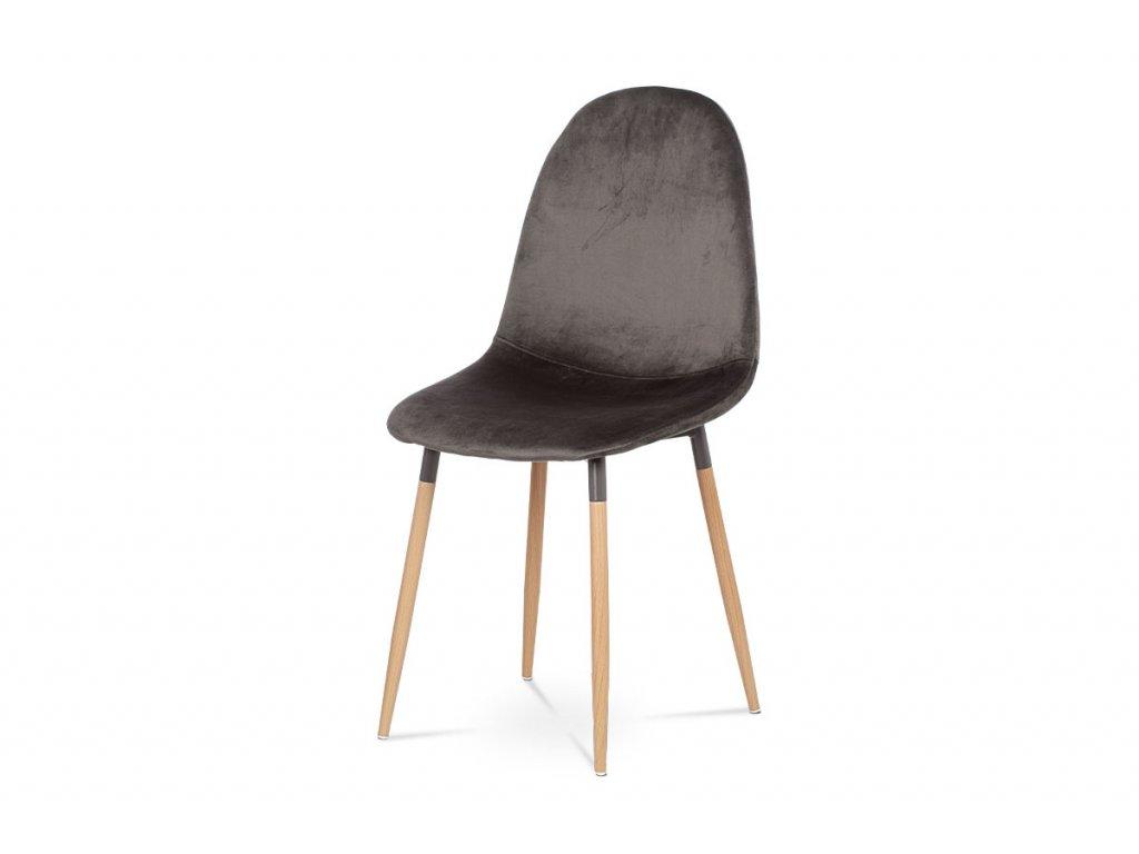 Jídelní židle, šedá sametová látka, kov dekor buk