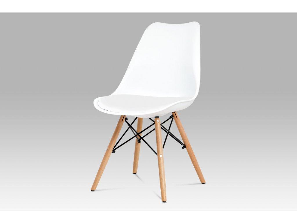 Jídelní židle bílý plast / bílá koženka / natural