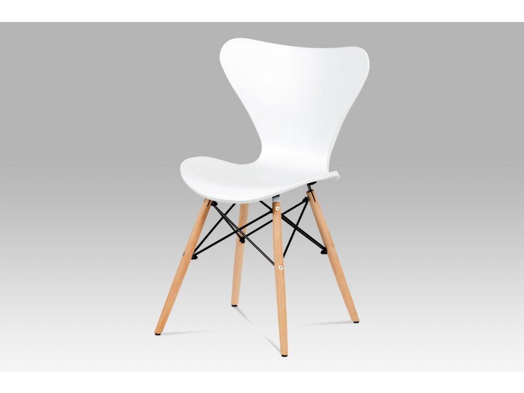 Jídelní židle bílý plast / natural