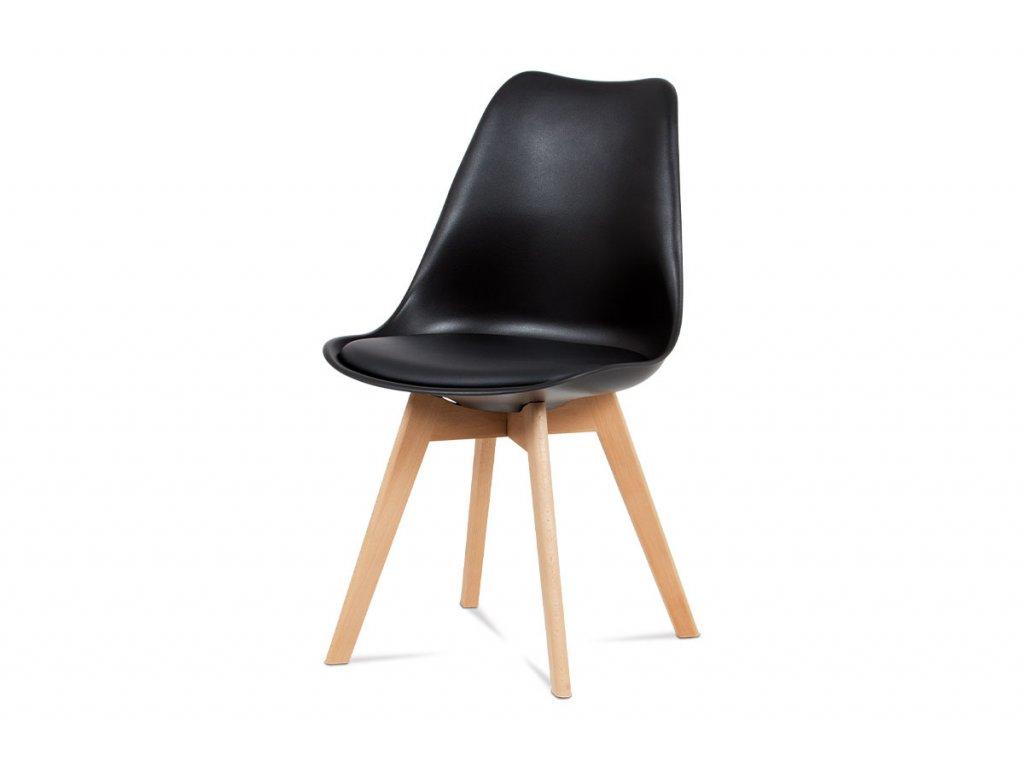 Jídelní židle, černá plastová skořepina, sedák černá ekokůže, čtyřnohá dřevěná p