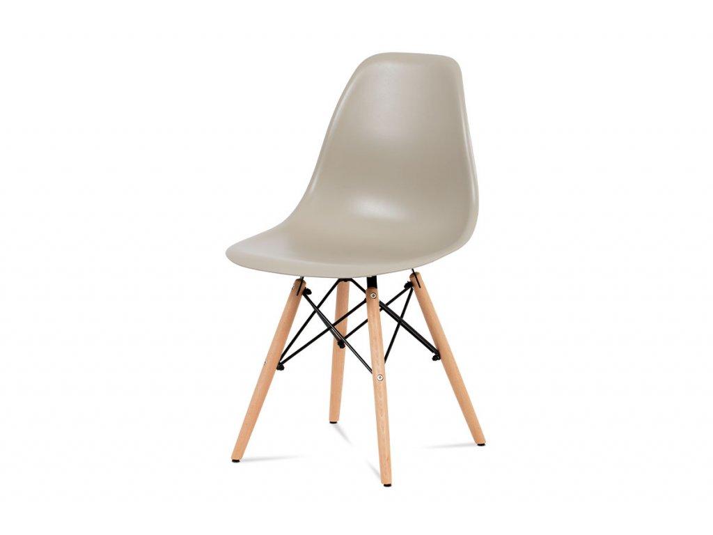 Jídelní židle, plast latté / masiv buk / kov černý