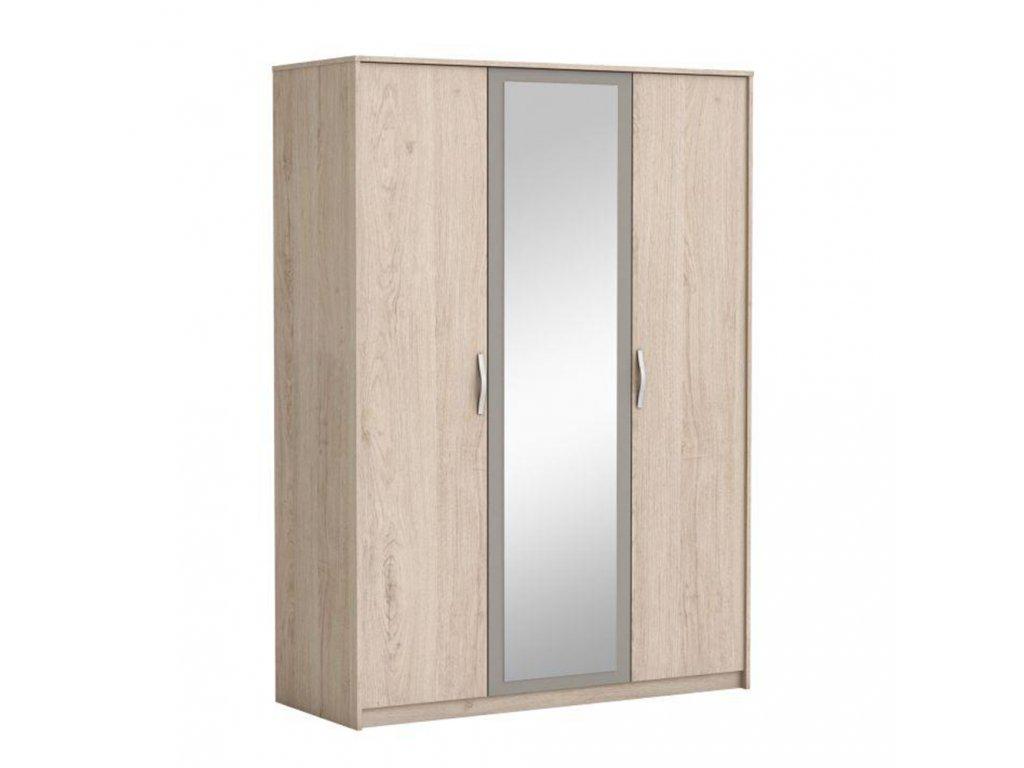 Kondela 3-dveřová skříň se zrcadlem, dub arizona / šedá, GRAPHIC