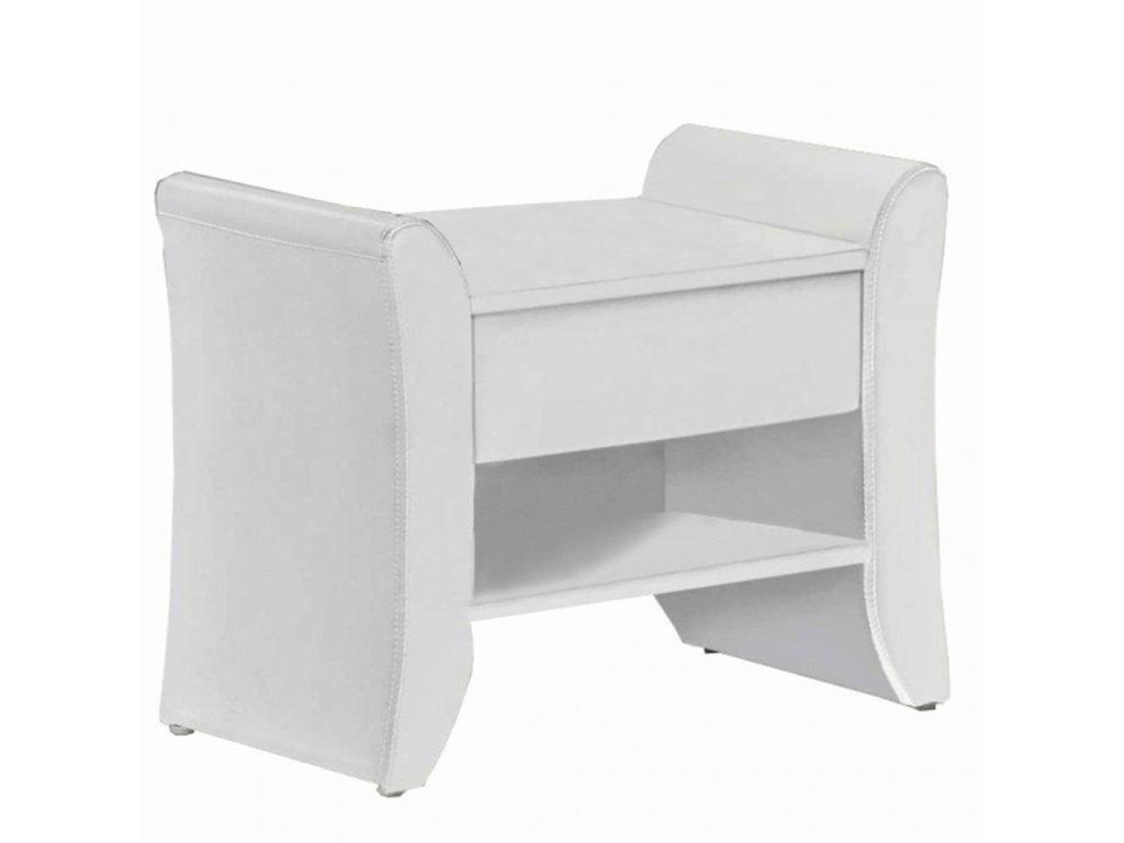 Kondela Noční stolek, bíla ekokůže, BOLTON
