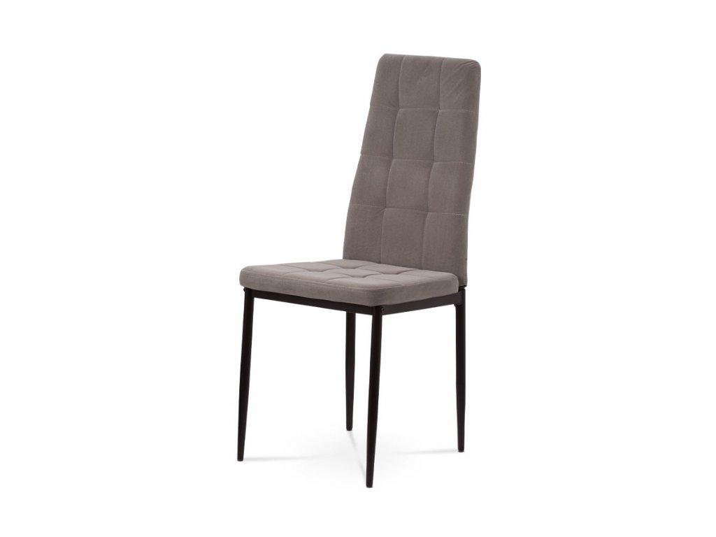 Jídelní židle, lanýžová sametová látka, kovová čtyřnohá podnož, černý matný lak