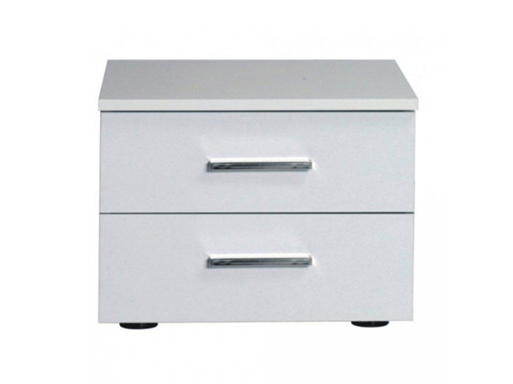 Kondela Noční stolek, 2 kusy, bílá / vysoký bílý lesk HG, ASIENA