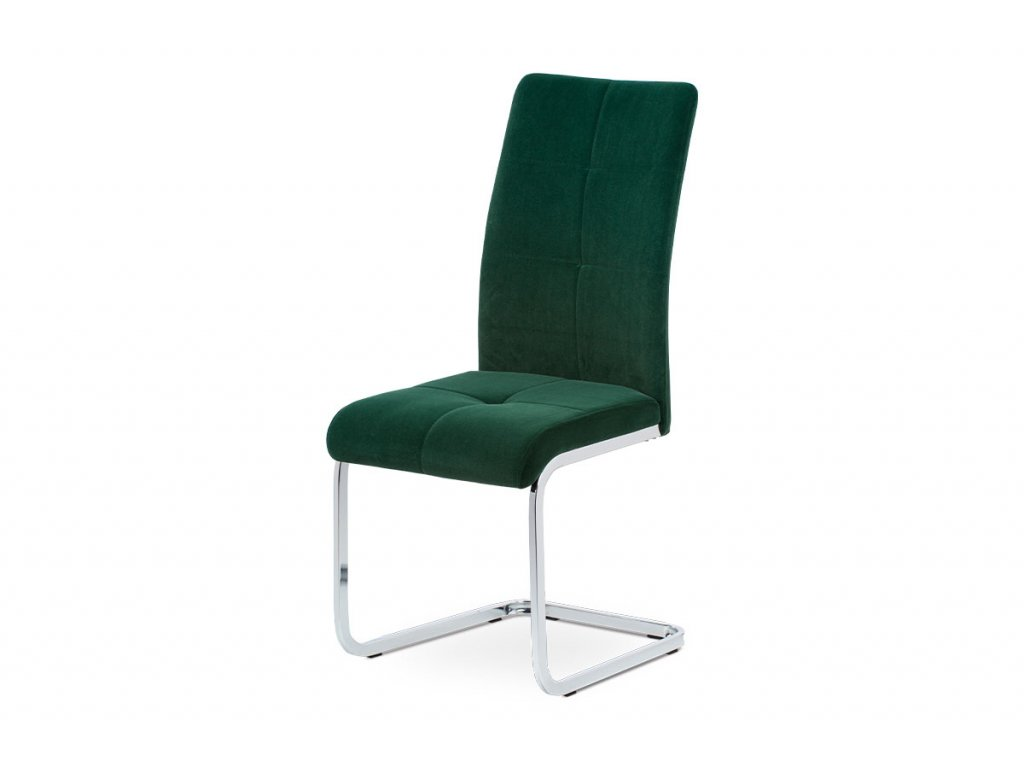Jídelní židle, potah lahvově zelená sametová látka, kovová pohupová chromovaná p