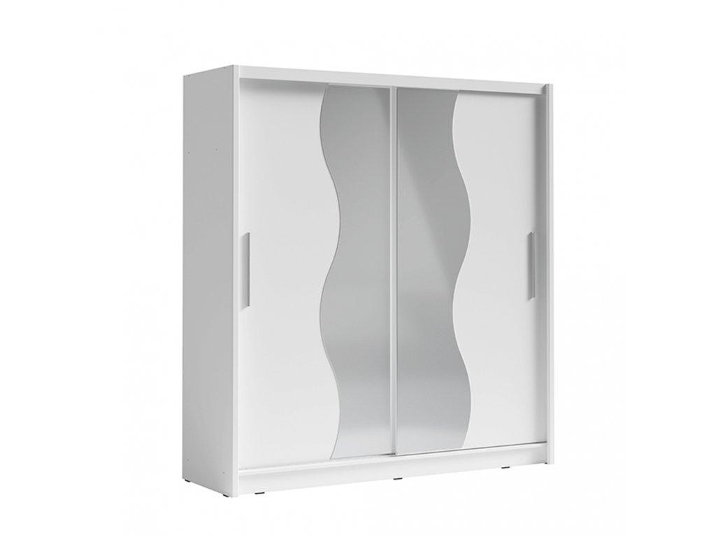 Kondela Skříň s posuvnými dveřmi, bílá, BIRGAMO TYP 1
